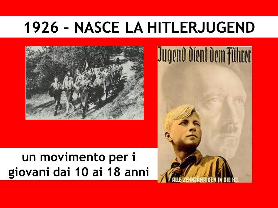 1926 – NASCE LA HITLERJUGEND un movimento per i giovani dai 10 ai 18 anni
