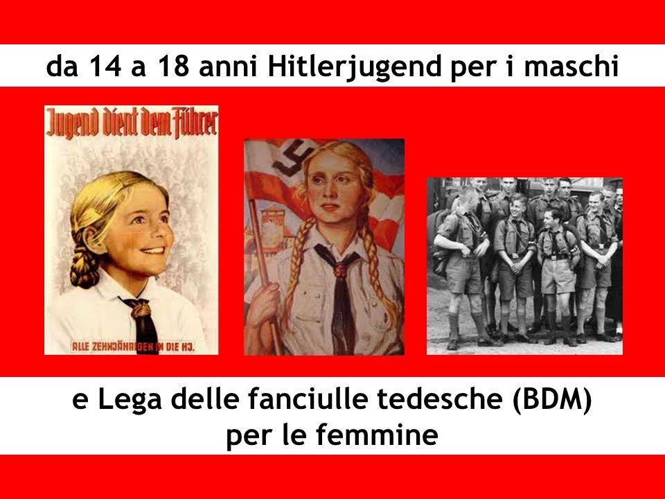 e Lega delle fanciulle tedesche (BDM) per le femmine da 14 a 18 anni Hitlerjugend per i maschi