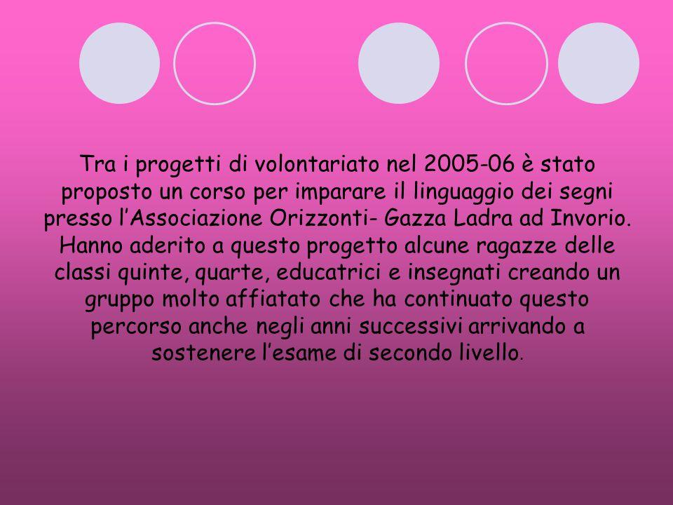 Tra i progetti di volontariato nel 2005-06 è stato proposto un corso per imparare il linguaggio dei segni presso l'Associazione Orizzonti- Gazza Ladra ad Invorio.