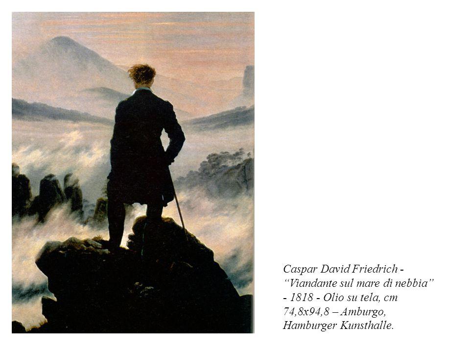 """Caspar David Friedrich - """"Viandante sul mare di nebbia"""" - 1818 - Olio su tela, cm 74,8x94,8 – Amburgo, Hamburger Kunsthalle."""