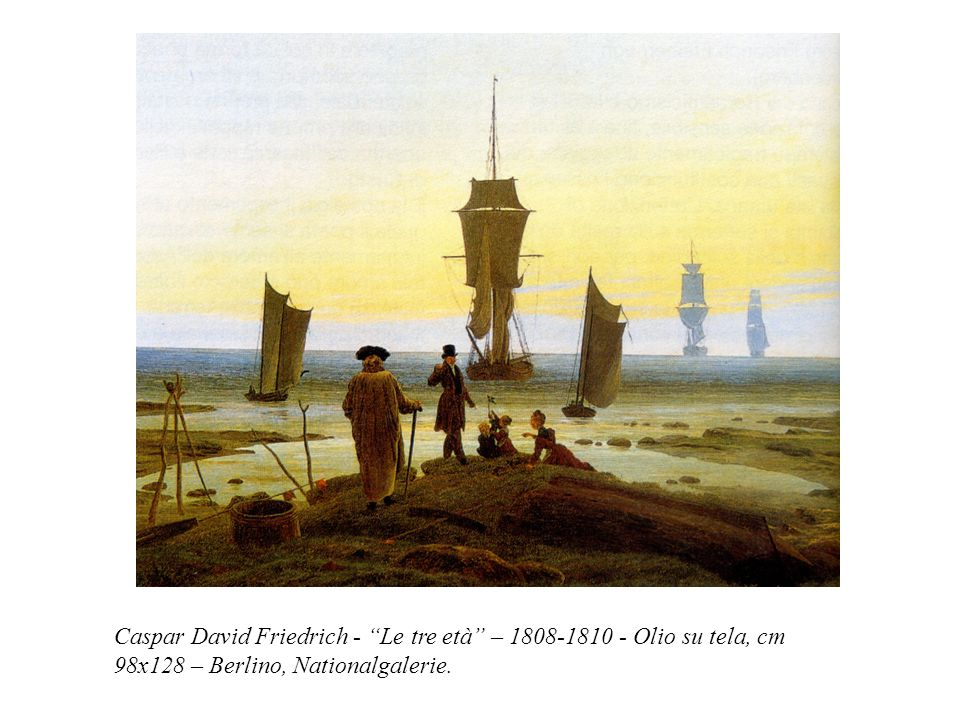 "Caspar David Friedrich - ""Le tre età"" – 1808-1810 - Olio su tela, cm 98x128 – Berlino, Nationalgalerie."