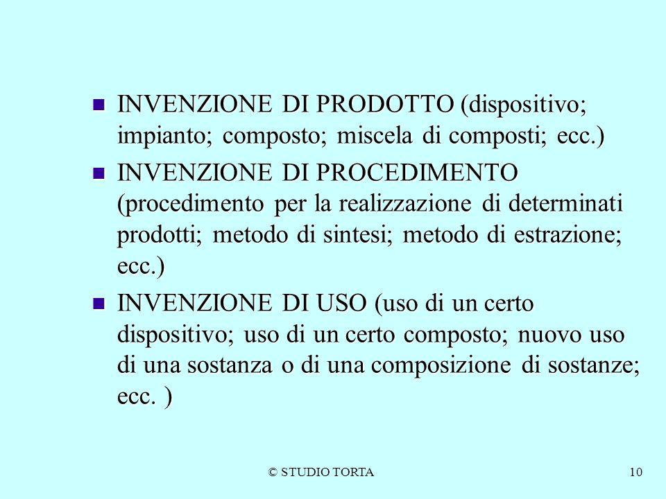 © STUDIO TORTA10 INVENZIONE DI PRODOTTO (dispositivo; impianto; composto; miscela di composti; ecc.) INVENZIONE DI PRODOTTO (dispositivo; impianto; co