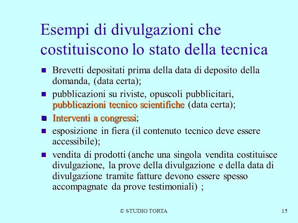 © STUDIO TORTA15 Esempi di divulgazioni che costituiscono lo stato della tecnica Brevetti depositati prima della data di deposito della domanda, (data