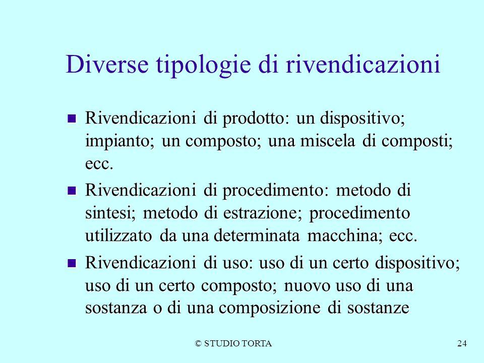 © STUDIO TORTA24 Diverse tipologie di rivendicazioni Rivendicazioni di prodotto: un dispositivo; impianto; un composto; una miscela di composti; ecc.