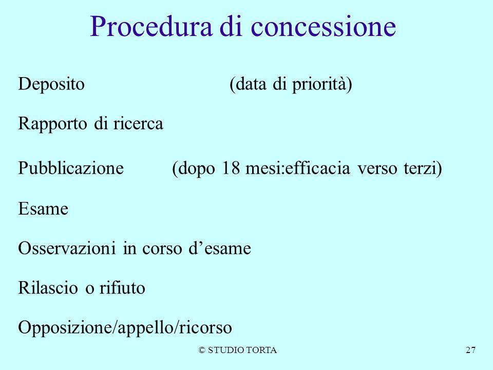 © STUDIO TORTA27 Procedura di concessione Deposito (data di priorità) Rapporto di ricerca Pubblicazione (dopo 18 mesi:efficacia verso terzi) Esame Oss