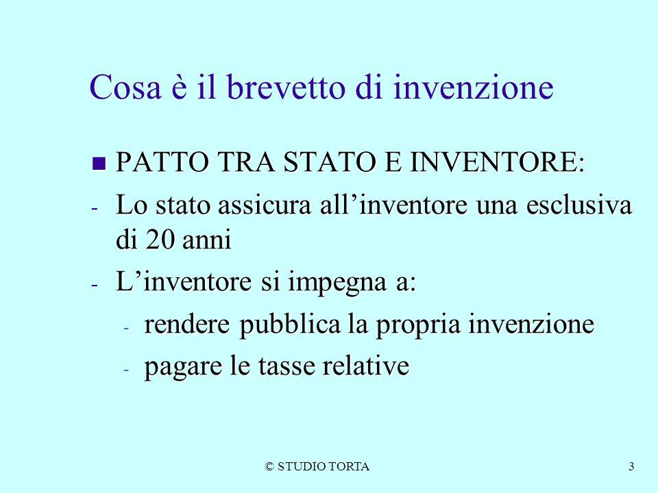 © STUDIO TORTA3 Cosa è il brevetto di invenzione PATTO TRA STATO E INVENTORE: PATTO TRA STATO E INVENTORE: - Lo stato assicura all'inventore una esclu