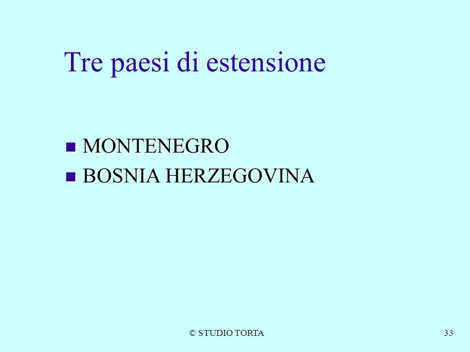 © STUDIO TORTA33 Tre paesi di estensione MONTENEGRO MONTENEGRO BOSNIA HERZEGOVINA BOSNIA HERZEGOVINA