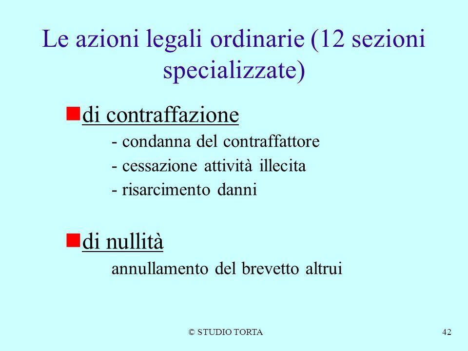 © STUDIO TORTA42 Le azioni legali ordinarie (12 sezioni specializzate) di contraffazione - condanna del contraffattore - cessazione attività illecita