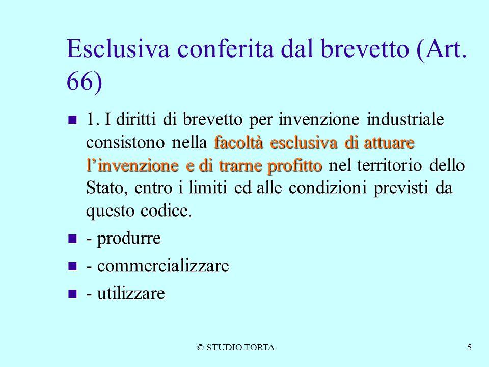 © STUDIO TORTA5 Esclusiva conferita dal brevetto (Art. 66) 1. I diritti di brevetto per invenzione industriale consistono nella facoltà esclusiva di a