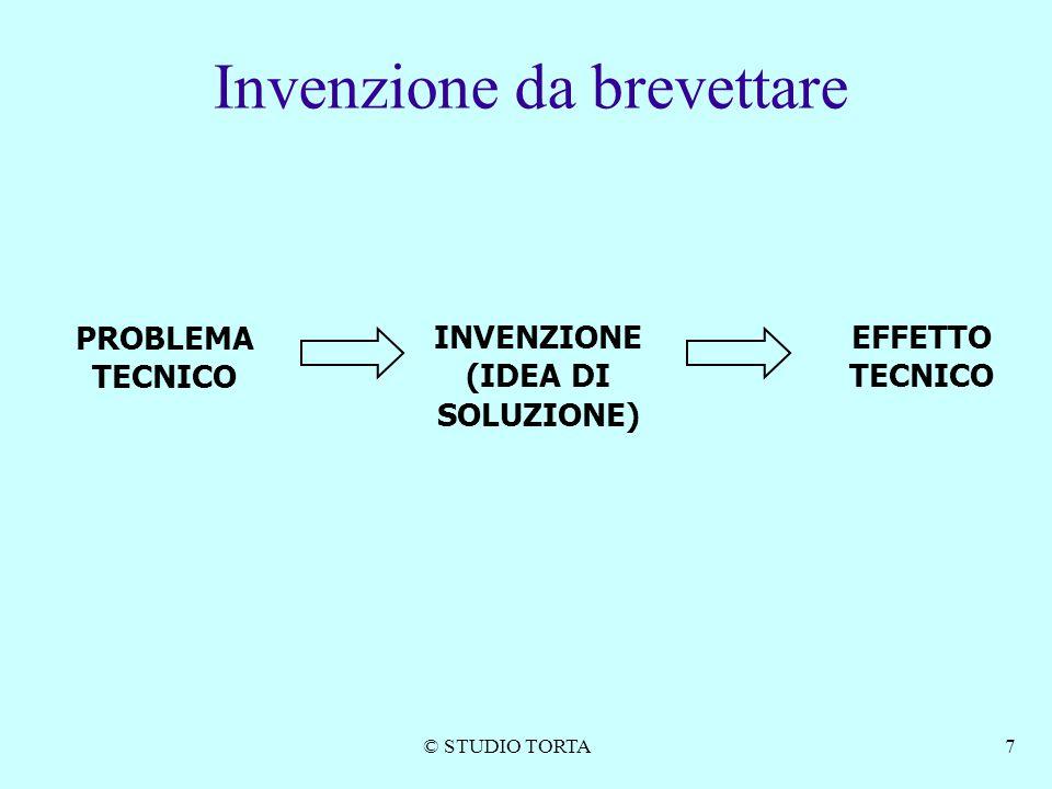 © STUDIO TORTA7 PROBLEMA TECNICO INVENZIONE (IDEA DI SOLUZIONE) EFFETTO TECNICO Invenzione da brevettare