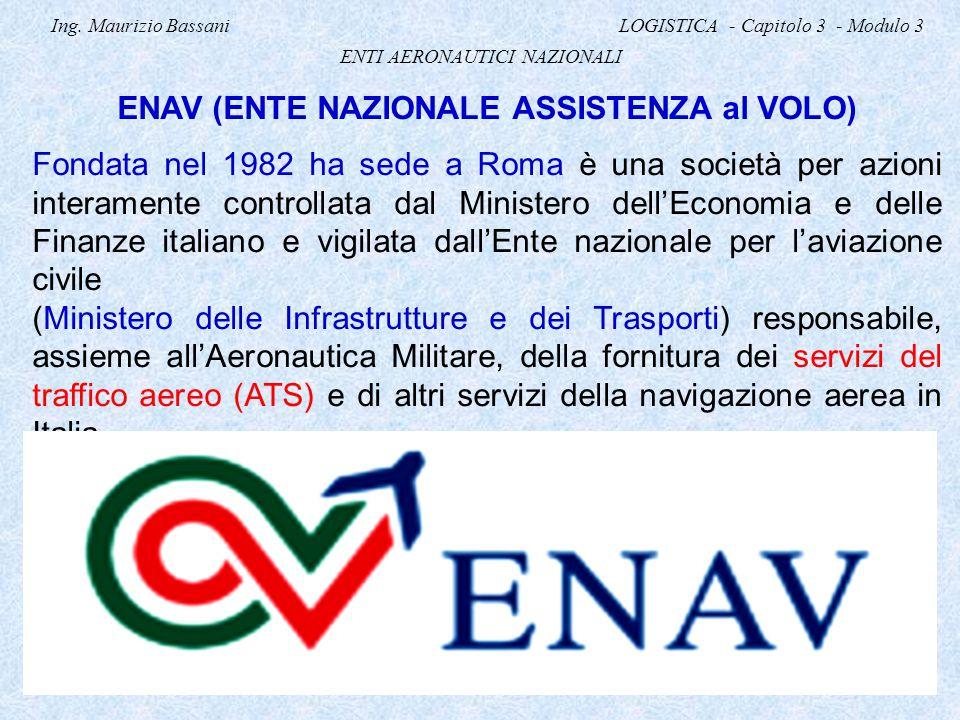 Ing. Maurizio Bassani LOGISTICA - Capitolo 3 - Modulo 3 ENTI AERONAUTICI NAZIONALI ENAV (ENTE NAZIONALE ASSISTENZA al VOLO) Fondata nel 1982 ha sede a