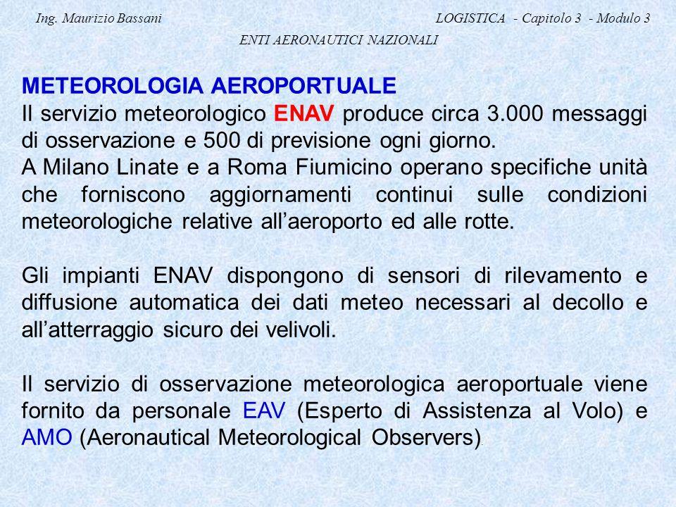 Ing. Maurizio Bassani LOGISTICA - Capitolo 3 - Modulo 3 ENTI AERONAUTICI NAZIONALI METEOROLOGIA AEROPORTUALE Il servizio meteorologico ENAV produce ci