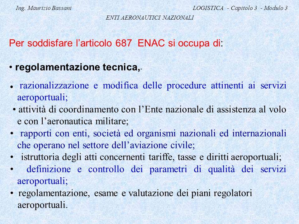 Ing. Maurizio Bassani LOGISTICA - Capitolo 3 - Modulo 3 ENTI AERONAUTICI NAZIONALI Per soddisfare l'articolo 687 ENAC si occupa di: regolamentazione t