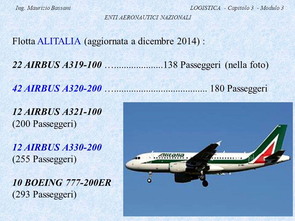 Ing. Maurizio Bassani LOGISTICA - Capitolo 3 - Modulo 3 ENTI AERONAUTICI NAZIONALI Flotta ALITALIA (aggiornata a dicembre 2014) : 22 AIRBUS A319-100 …