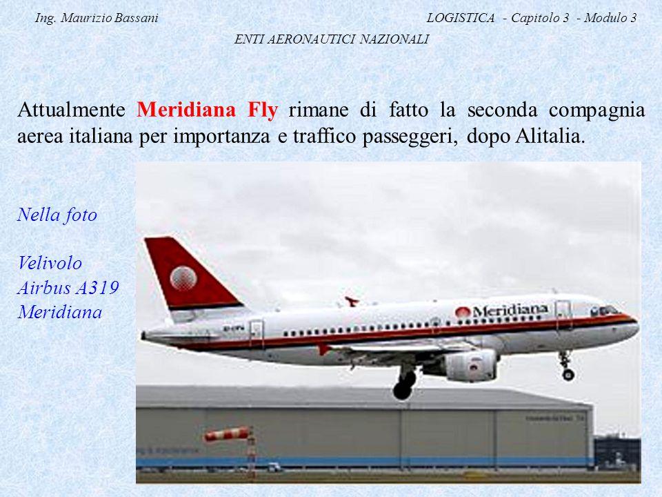Ing. Maurizio Bassani LOGISTICA - Capitolo 3 - Modulo 3 ENTI AERONAUTICI NAZIONALI Attualmente Meridiana Fly rimane di fatto la seconda compagnia aere