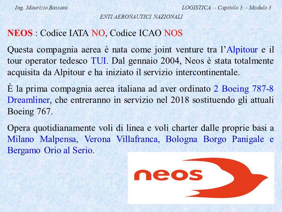 Ing. Maurizio Bassani LOGISTICA - Capitolo 3 - Modulo 3 ENTI AERONAUTICI NAZIONALI NEOS : Codice IATA NO, Codice ICAO NOS Questa compagnia aerea è nat