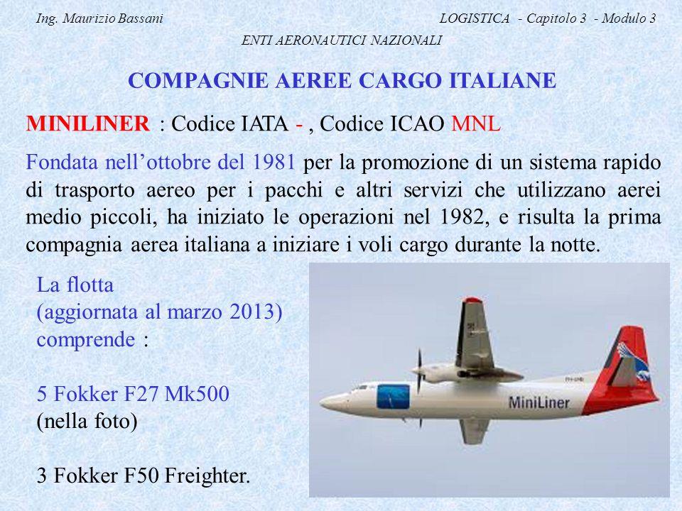 Ing. Maurizio Bassani LOGISTICA - Capitolo 3 - Modulo 3 ENTI AERONAUTICI NAZIONALI COMPAGNIE AEREE CARGO ITALIANE MINILINER : Codice IATA -, Codice IC