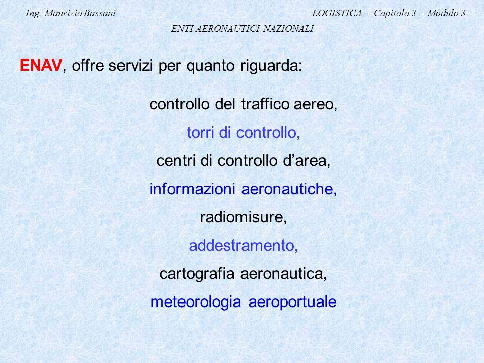 Ing. Maurizio Bassani LOGISTICA - Capitolo 3 - Modulo 3 ENTI AERONAUTICI NAZIONALI ENAV, offre servizi per quanto riguarda: controllo del traffico aer