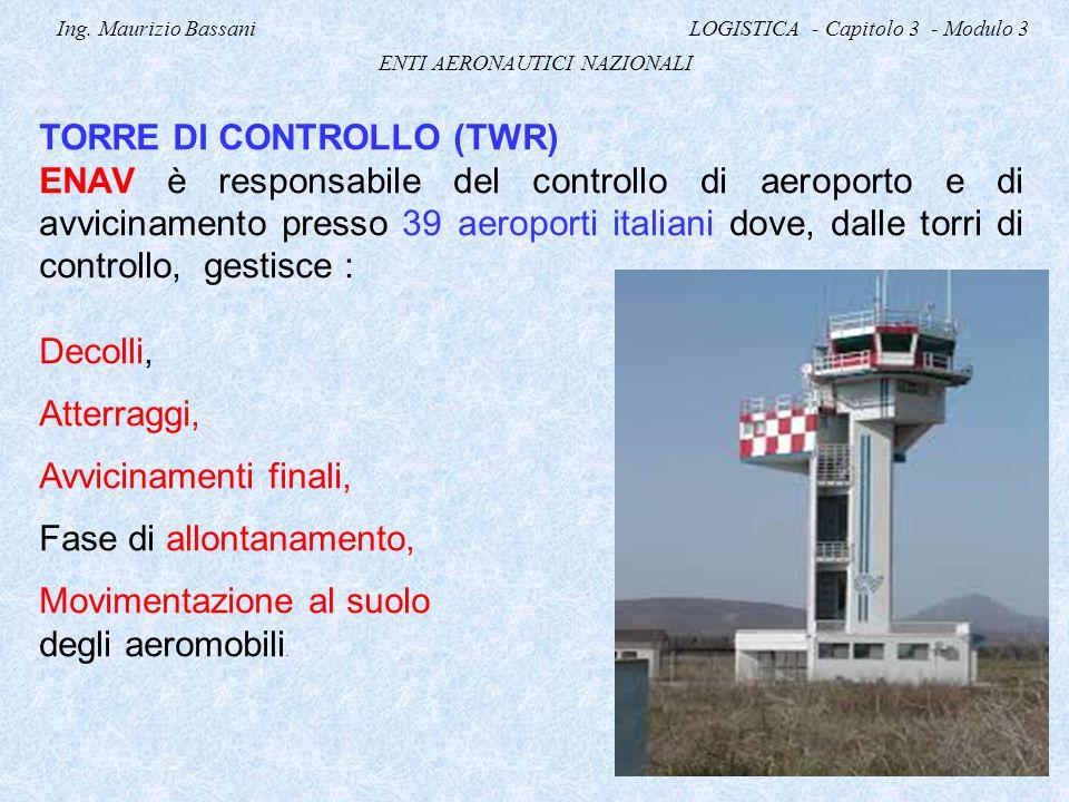 Ing. Maurizio Bassani LOGISTICA - Capitolo 3 - Modulo 3 ENTI AERONAUTICI NAZIONALI TORRE DI CONTROLLO (TWR) ENAV è responsabile del controllo di aerop