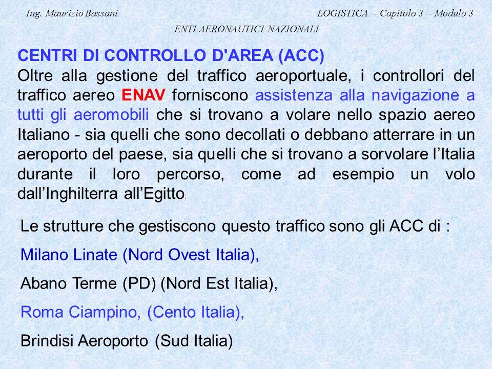 Ing. Maurizio Bassani LOGISTICA - Capitolo 3 - Modulo 3 ENTI AERONAUTICI NAZIONALI CENTRI DI CONTROLLO D'AREA (ACC) Oltre alla gestione del traffico a