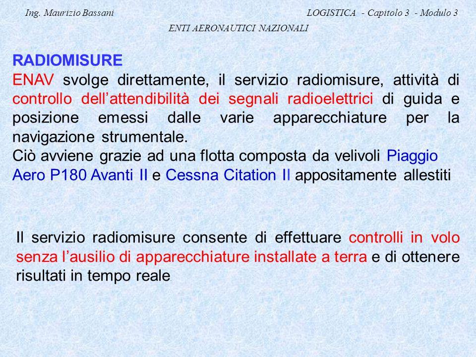 Ing. Maurizio Bassani LOGISTICA - Capitolo 3 - Modulo 3 ENTI AERONAUTICI NAZIONALI RADIOMISURE ENAV svolge direttamente, il servizio radiomisure, atti