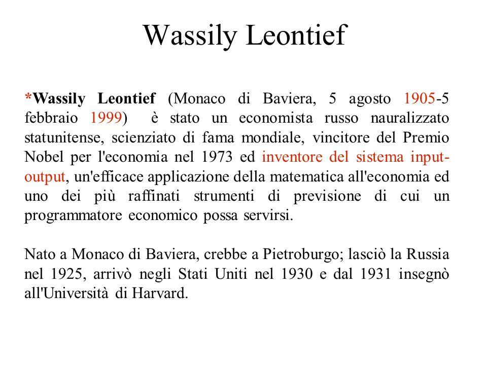 Wassily Leontief *Wassily Leontief (Monaco di Baviera, 5 agosto 1905-5 febbraio 1999) è stato un economista russo nauralizzato statunitense, scienziato di fama mondiale, vincitore del Premio Nobel per l economia nel 1973 ed inventore del sistema input- output, un efficace applicazione della matematica all economia ed uno dei più raffinati strumenti di previsione di cui un programmatore economico possa servirsi.