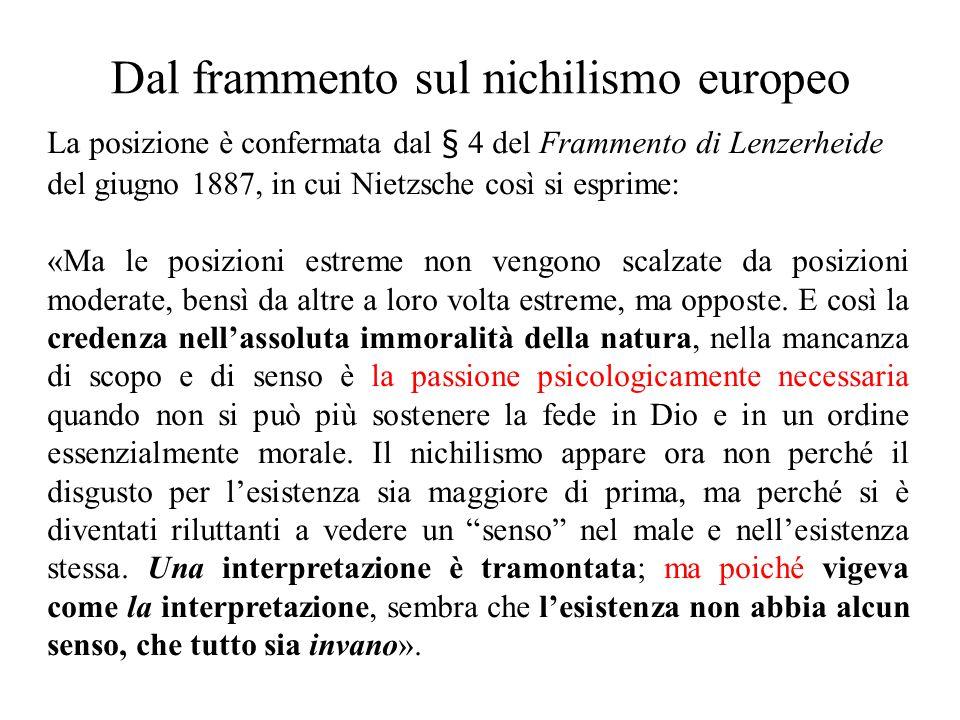 Dal frammento sul nichilismo europeo La posizione è confermata dal § 4 del Frammento di Lenzerheide del giugno 1887, in cui Nietzsche così si esprime: «Ma le posizioni estreme non vengono scalzate da posizioni moderate, bensì da altre a loro volta estreme, ma opposte.