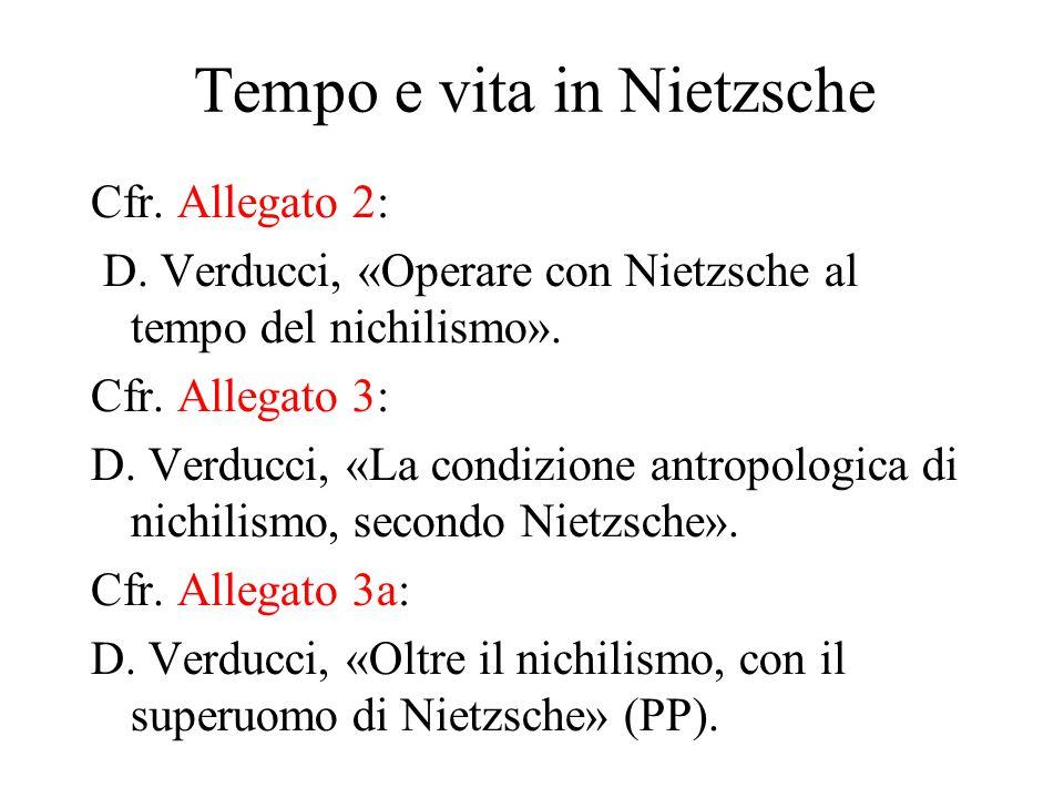 Tempo e vita in Nietzsche Cfr. Allegato 2: D.