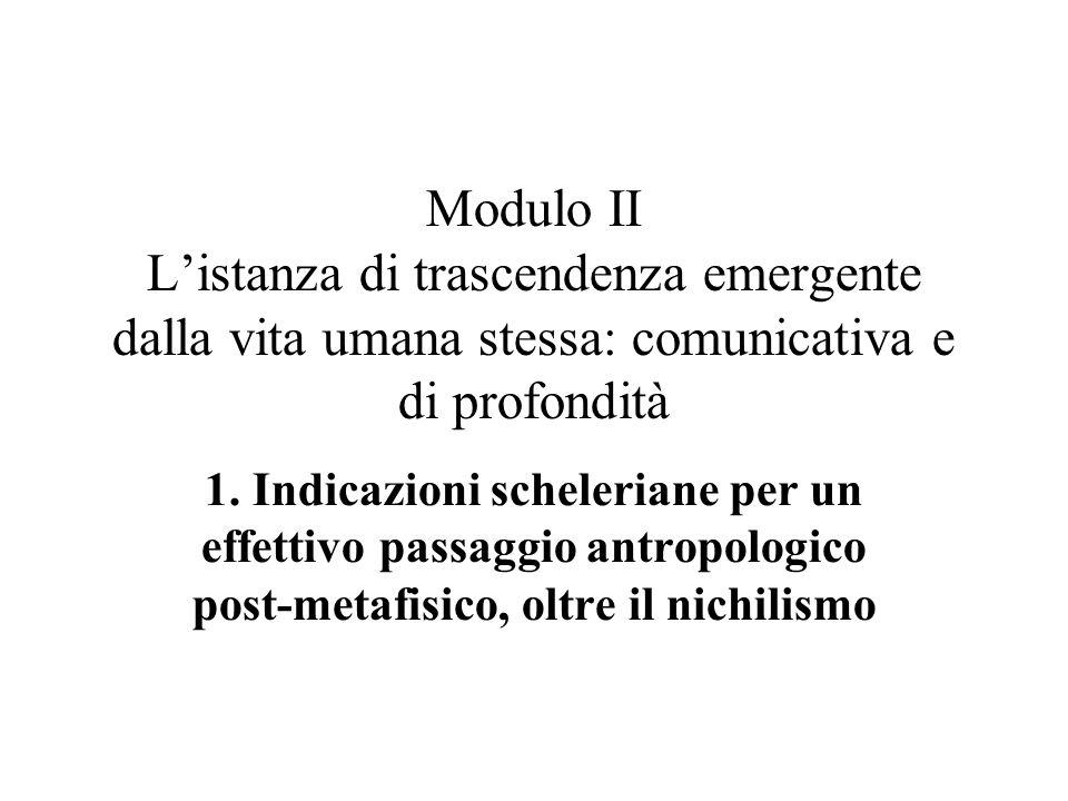 Modulo II L'istanza di trascendenza emergente dalla vita umana stessa: comunicativa e di profondità 1.