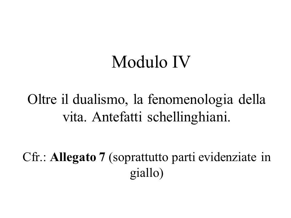 Modulo IV Oltre il dualismo, la fenomenologia della vita.