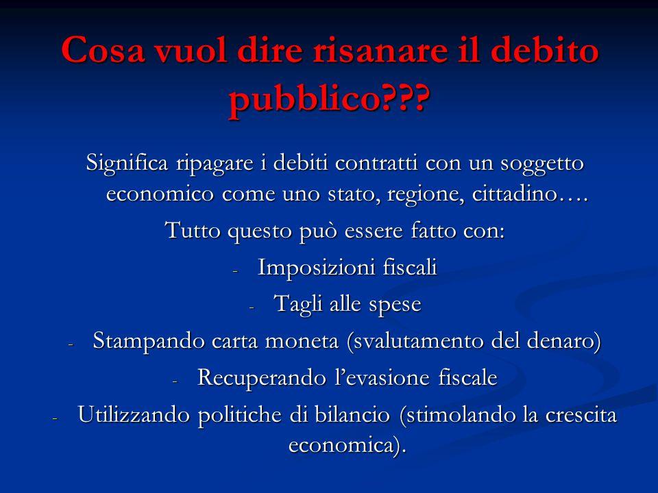 Cosa vuol dire risanare il debito pubblico .