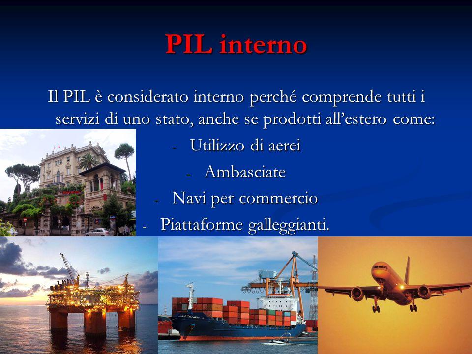 PIL interno Il PIL è considerato interno perché comprende tutti i servizi di uno stato, anche se prodotti all'estero come: - Utilizzo di aerei - Ambasciate - Navi per commercio - Piattaforme galleggianti.