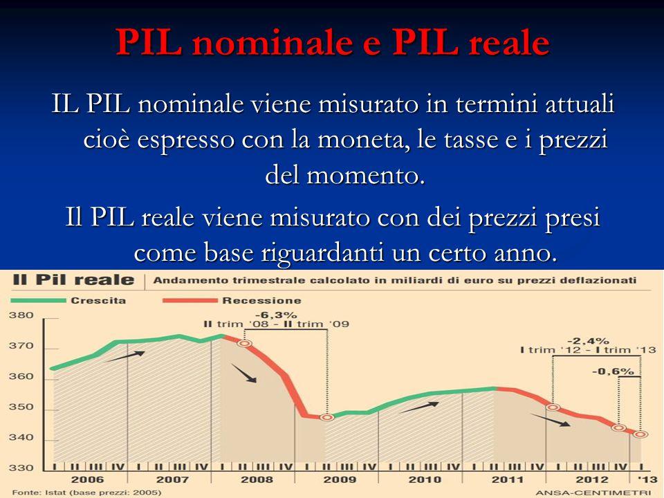 PIL nominale e PIL reale IL PIL nominale viene misurato in termini attuali cioè espresso con la moneta, le tasse e i prezzi del momento.