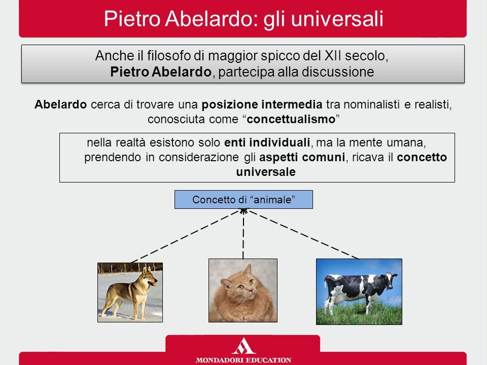 Pietro Abelardo: gli universali Anche il filosofo di maggior spicco del XII secolo, Pietro Abelardo, partecipa alla discussione Anche il filosofo di m