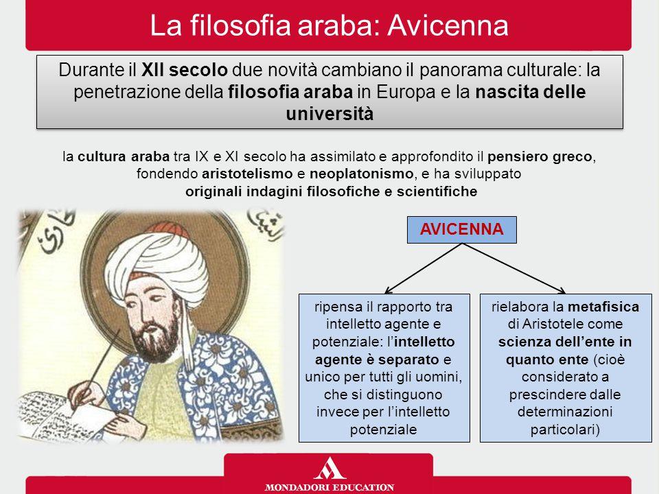 La filosofia araba: Avicenna Durante il XII secolo due novità cambiano il panorama culturale: la penetrazione della filosofia araba in Europa e la nas