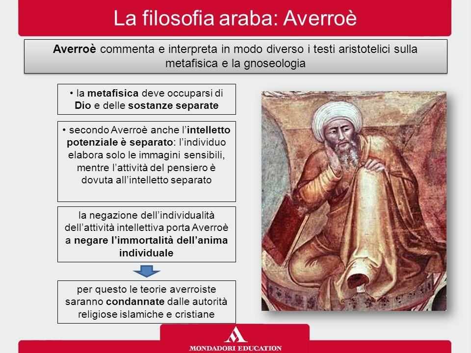 La filosofia araba: Averroè Averroè commenta e interpreta in modo diverso i testi aristotelici sulla metafisica e la gnoseologia la metafisica deve oc