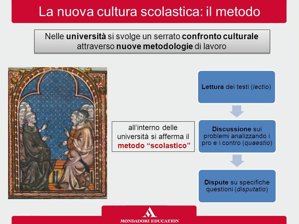 """La nuova cultura scolastica: il metodo all'interno delle università si afferma il metodo """"scolastico"""" Lettura dei testi (lectio) Discussione sui probl"""