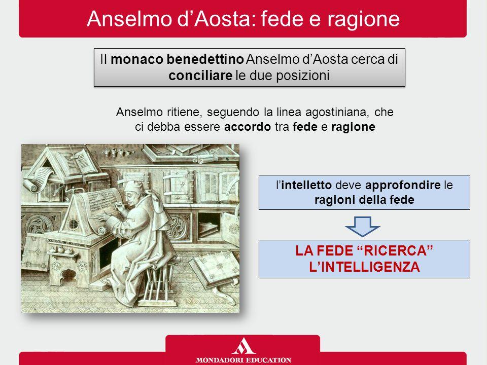 """Anselmo d'Aosta: fede e ragione Anselmo ritiene, seguendo la linea agostiniana, che ci debba essere accordo tra fede e ragione LA FEDE """"RICERCA"""" L'INT"""