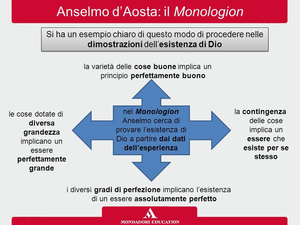 Anselmo d'Aosta: il Monologion Si ha un esempio chiaro di questo modo di procedere nelle dimostrazioni dell'esistenza di Dio nel Monologion Anselmo ce