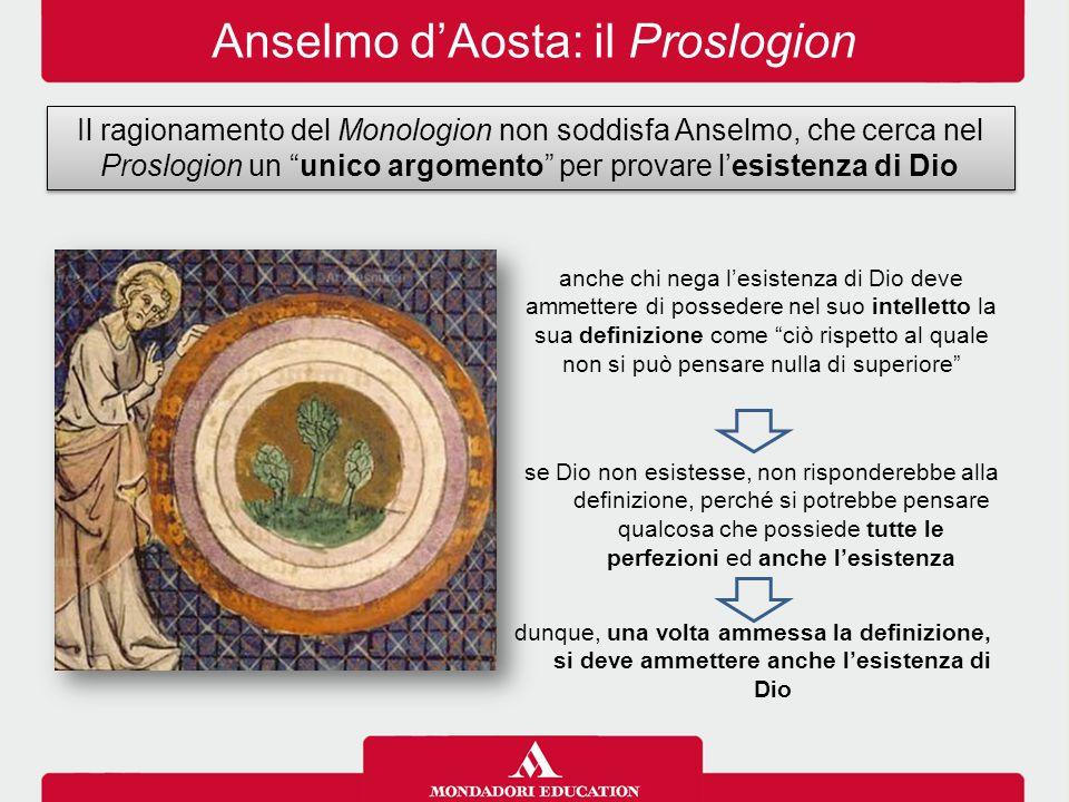 """Anselmo d'Aosta: il Proslogion Il ragionamento del Monologion non soddisfa Anselmo, che cerca nel Proslogion un """"unico argomento"""" per provare l'esiste"""