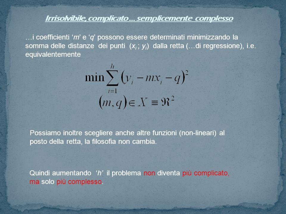 Irrisolvibile, complicato … semplicemente complesso …i coefficienti 'm' e 'q' possono essere determinati minimizzando la somma delle distanze dei punti (x i ; y i ) dalla retta (…di regressione), i.e.