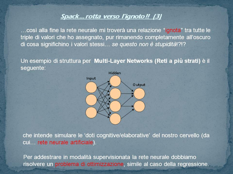"""Spack … rotta verso l'ignoto !! (3) …così alla fine la rete neurale mi troverà una relazione """"ignota"""" tra tutte le triple di valori che ho assegnato,"""