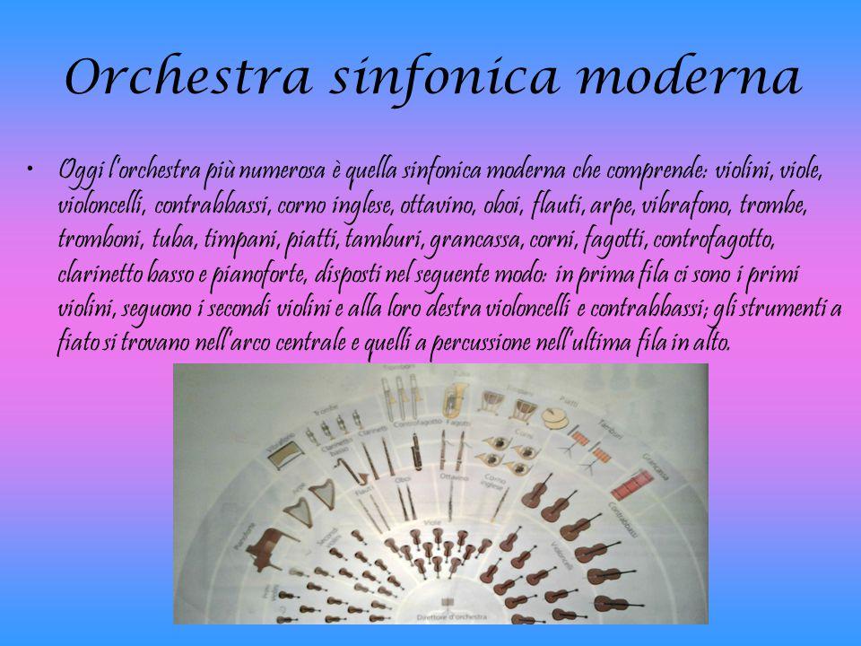 Orchestra sinfonica moderna Oggi l'orchestra più numerosa è quella sinfonica moderna che comprende: violini, viole, violoncelli, contrabbassi, corno i