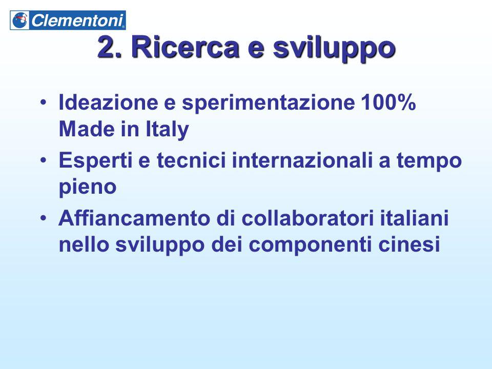 2. Ricerca e sviluppo Ideazione e sperimentazione 100% Made in Italy Esperti e tecnici internazionali a tempo pieno Affiancamento di collaboratori ita