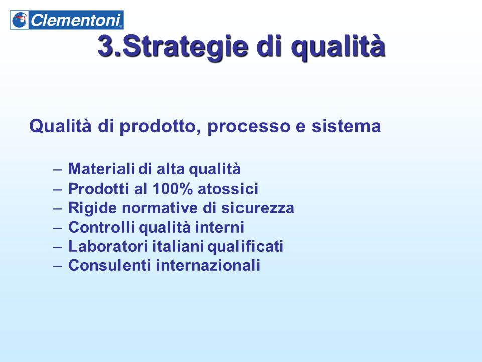 3.Strategie di qualità Qualità di prodotto, processo e sistema –Materiali di alta qualità –Prodotti al 100% atossici –Rigide normative di sicurezza –C