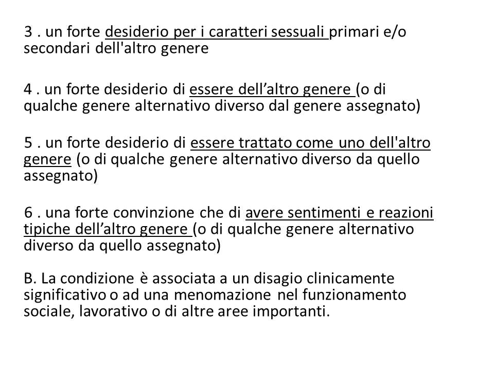 3. un forte desiderio per i caratteri sessuali primari e/o secondari dell'altro genere 4. un forte desiderio di essere dell'altro genere (o di qualche