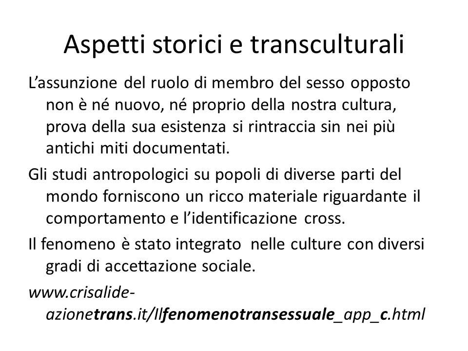 Aspetti storici e transculturali L'assunzione del ruolo di membro del sesso opposto non è né nuovo, né proprio della nostra cultura, prova della sua e