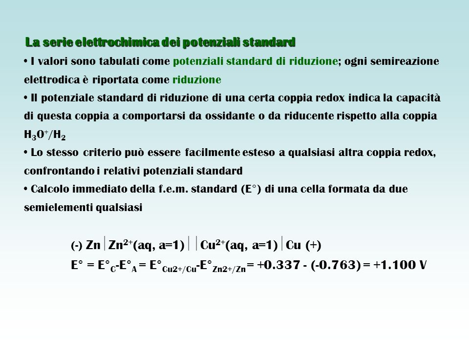 La serie elettrochimica dei potenziali standard I valori sono tabulati come potenziali standard di riduzione; ogni semireazione elettrodica è riportata come riduzione Il potenziale standard di riduzione di una certa coppia redox indica la capacità di questa coppia a comportarsi da ossidante o da riducente rispetto alla coppia H 3 O + /H 2 Lo stesso criterio può essere facilmente esteso a qualsiasi altra coppia redox, confrontando i relativi potenziali standard Calcolo immediato della f.e.m.