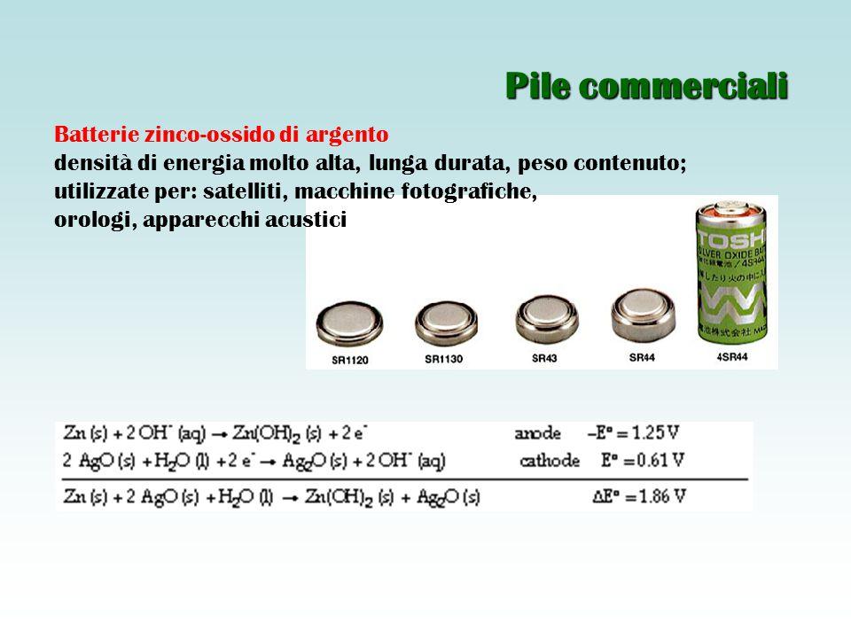 Batterie zinco-ossido di argento densità di energia molto alta, lunga durata, peso contenuto; utilizzate per: satelliti, macchine fotografiche, orologi, apparecchi acustici Pile commerciali