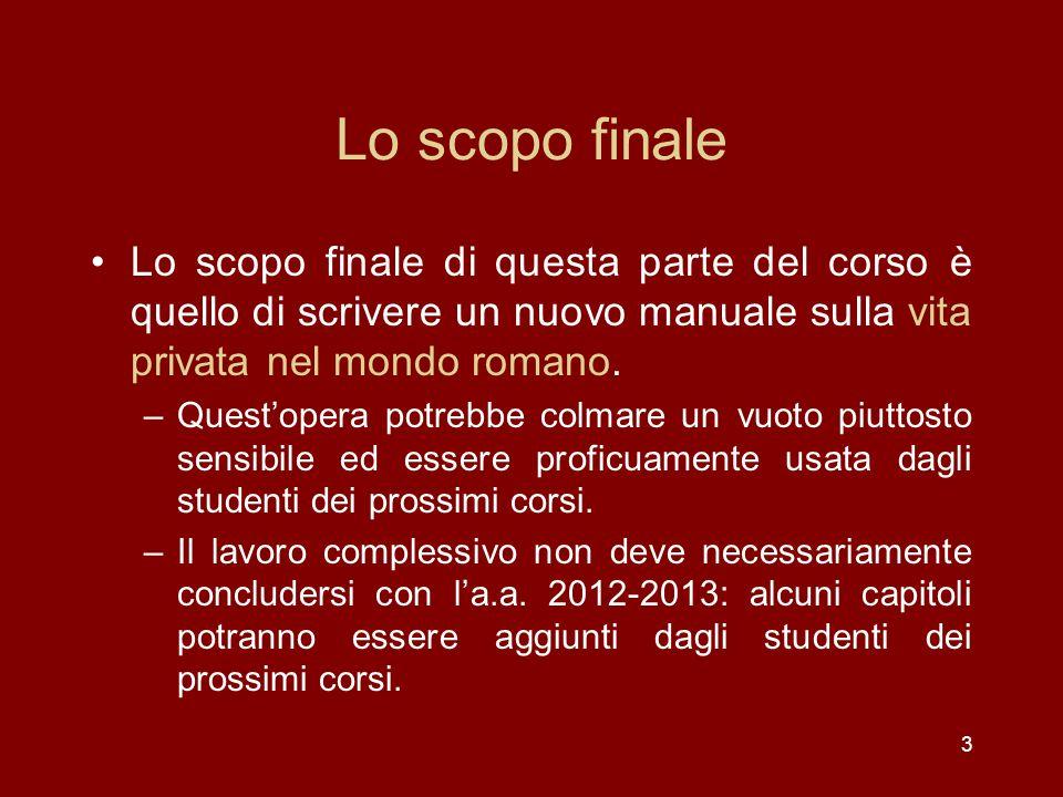 3 Lo scopo finale Lo scopo finale di questa parte del corso è quello di scrivere un nuovo manuale sulla vita privata nel mondo romano.